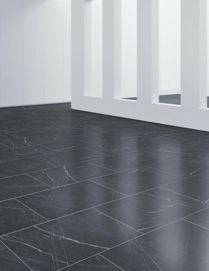 Dark tile effect laminate floor